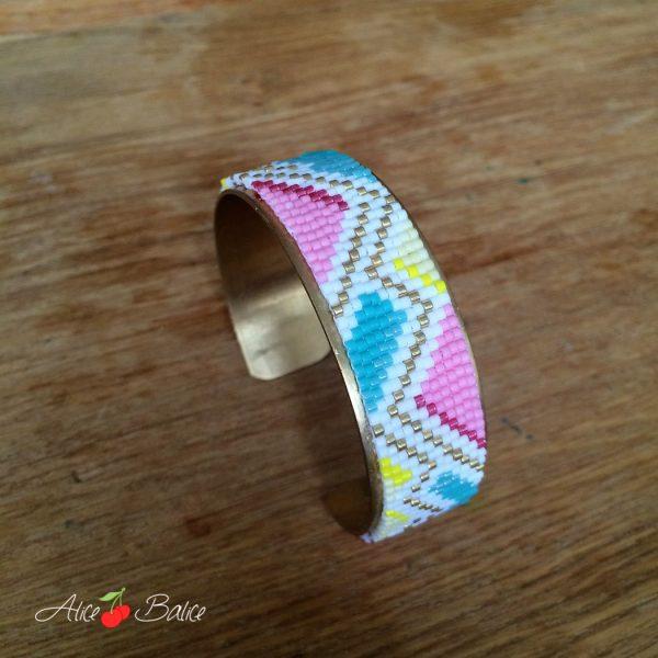 alice balice | bracelet manchette | tissage perles | miyuki Delicas 11/0 | metier à tisser