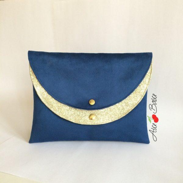 alice balice | pochette glitter double poche | pochette de soirée | simili cuir glitter or | suedine bleu roi