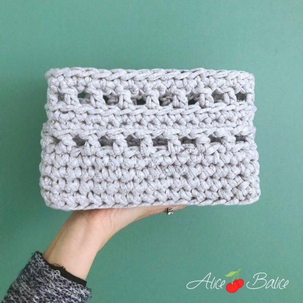alice balice | crochet | test crochets Clover Amour | corbeille rectangulaire | tutoriel