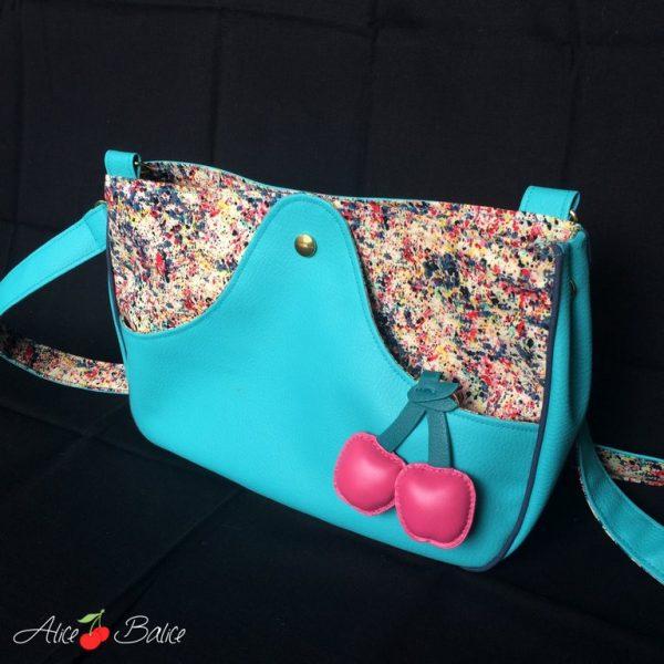 alice balice | sac à main | simili cuir coton passepoil | tissu coloré