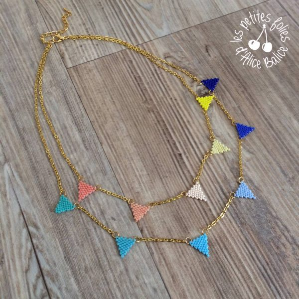 bijoux | collier sautoir | miyuki brick stitch | diagramme gratuit | fanions