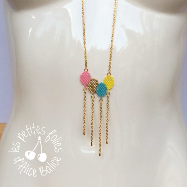 bijoux | collier sautoir | miyuki brick stitch | diagramme gratuit | ballons