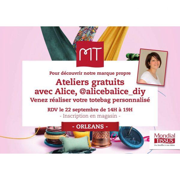 alice balice | partenariat Mondial Tissus | Journée du DIY | atelier couture tote bag gratuit | sewing